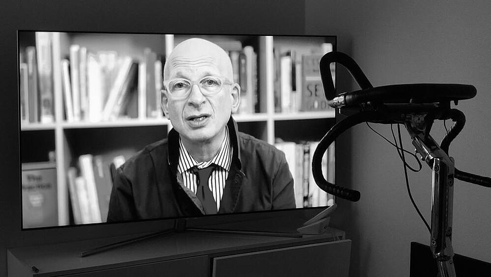 Watching Seth Godin on TV from my spinning bike