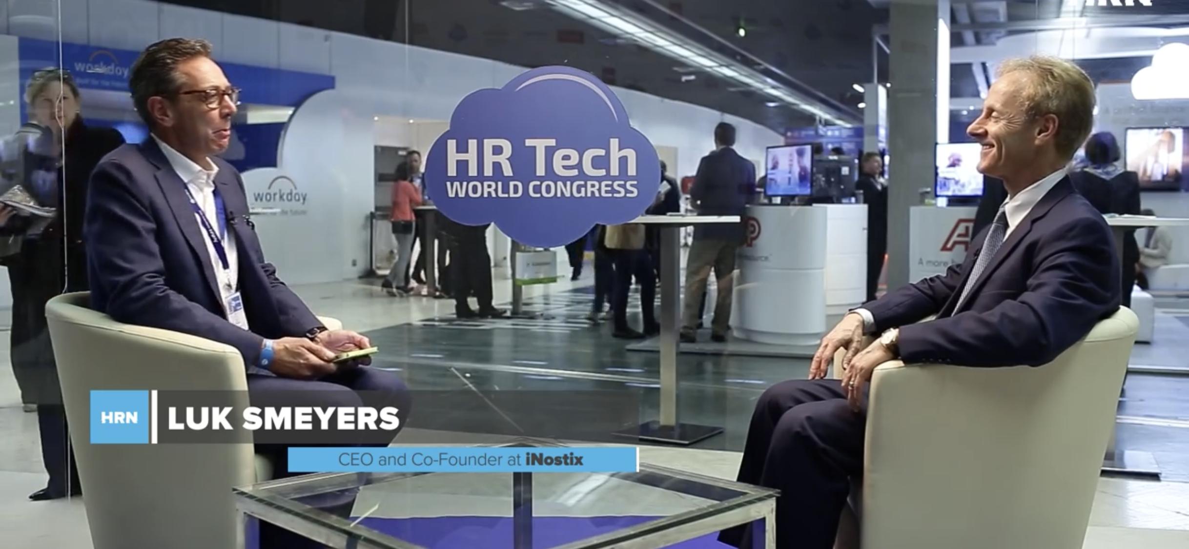 Luk Smeyers interviewing global influencer Josh Bersin at the HR Tech World Congress in 2017